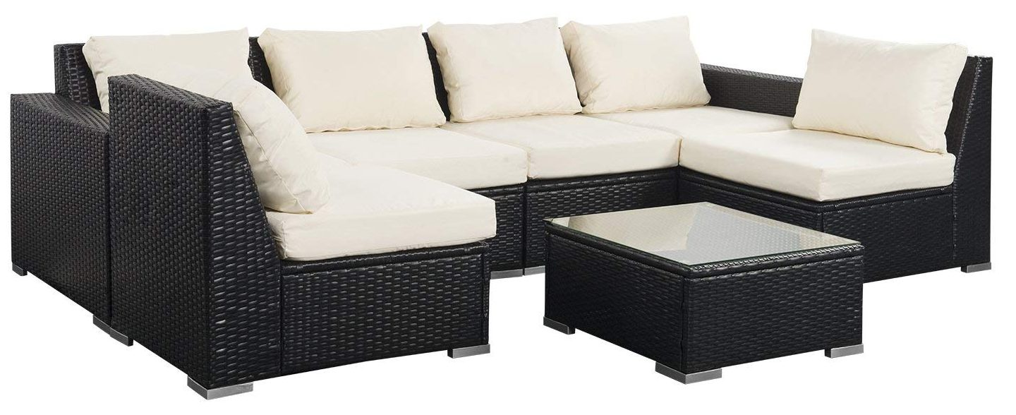 7 Piece Outdoor Wicker Patio Furniture Sectional