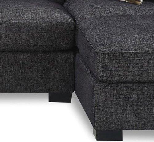 Bobkona Benford Faux Linen Chaise Sofa